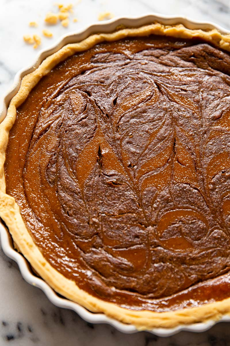 pumpkin pie with chocolate swirl