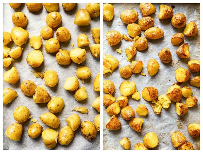 Roasted Baby Potatoes, before and after roasting