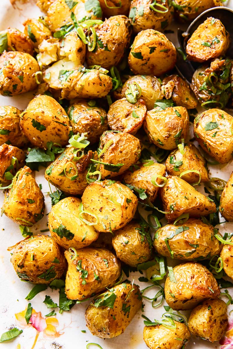 roast baby potatoes closeup