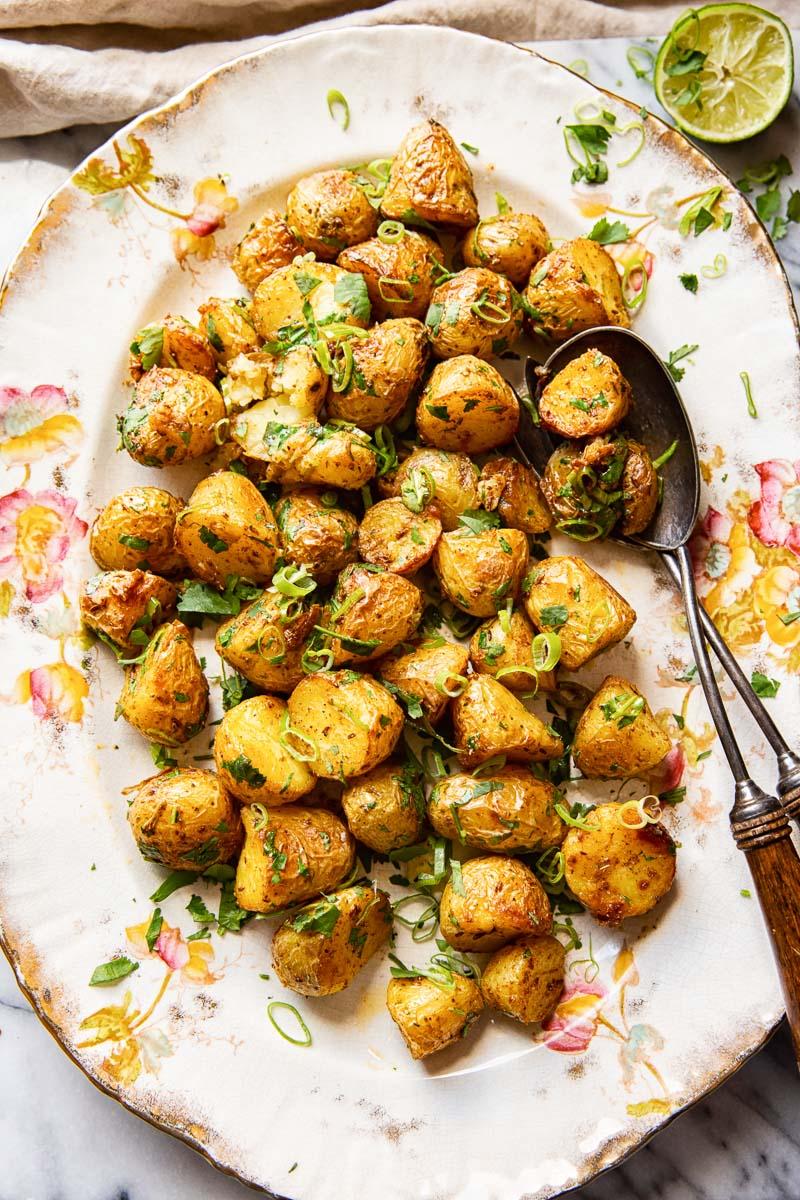 Roast Baby Potatoes on White Platter