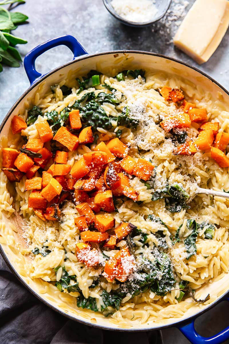 Orzo pasta with roasted butternut squash, kale and Parmesan cheese