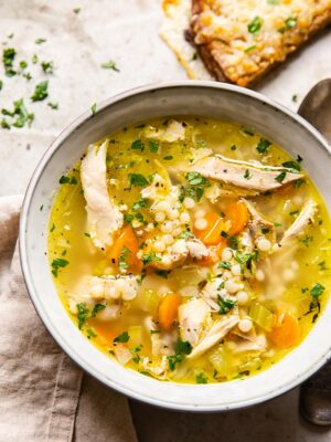 Turkey Soup in grey bowl