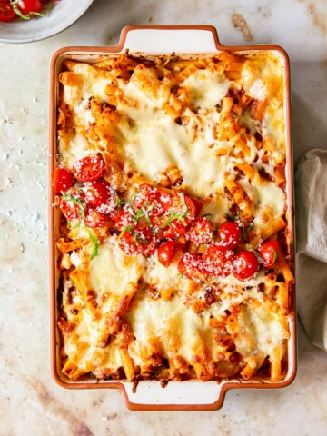 Baked pasta topped with tomato basil salsa