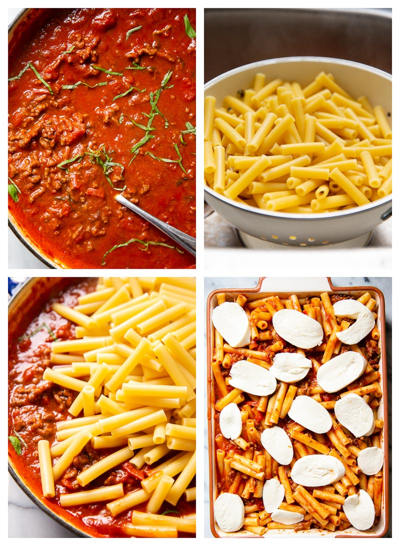 step by step photo collage for baked ziti recipe
