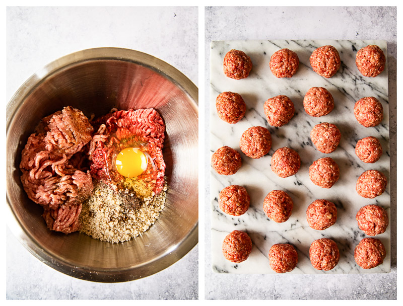 meatball mixture and rolled meatballs