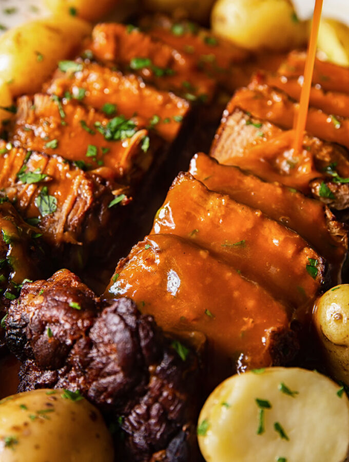 Beef Brisket with Gravy Drizzled over it