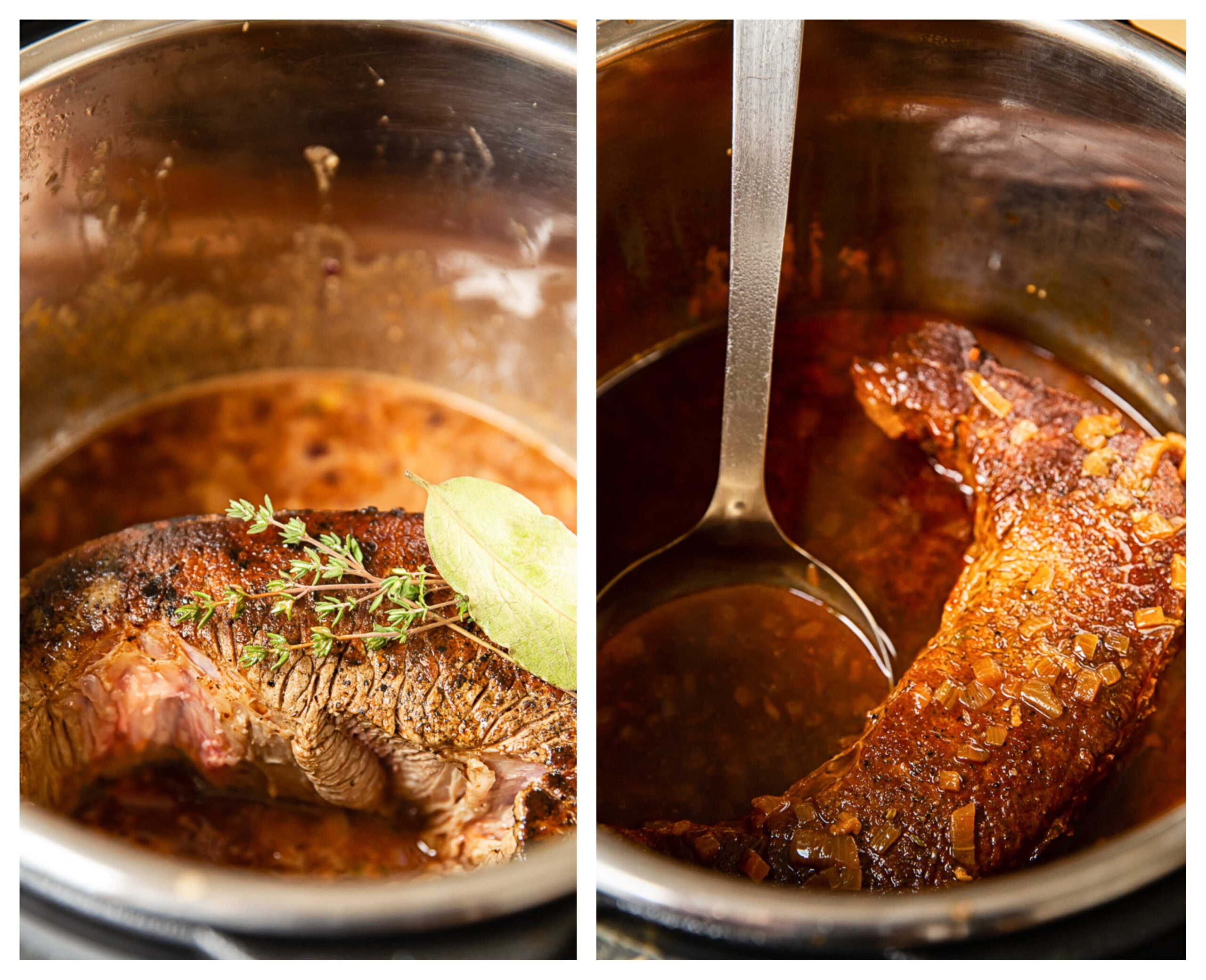beef brisket in Instant pot before and after cooking