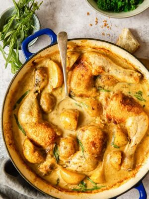chicken legs and potatoes in creamy tarragon sauce