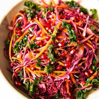 Red Cabbage, Kale and Pomegranate salad in a bowl