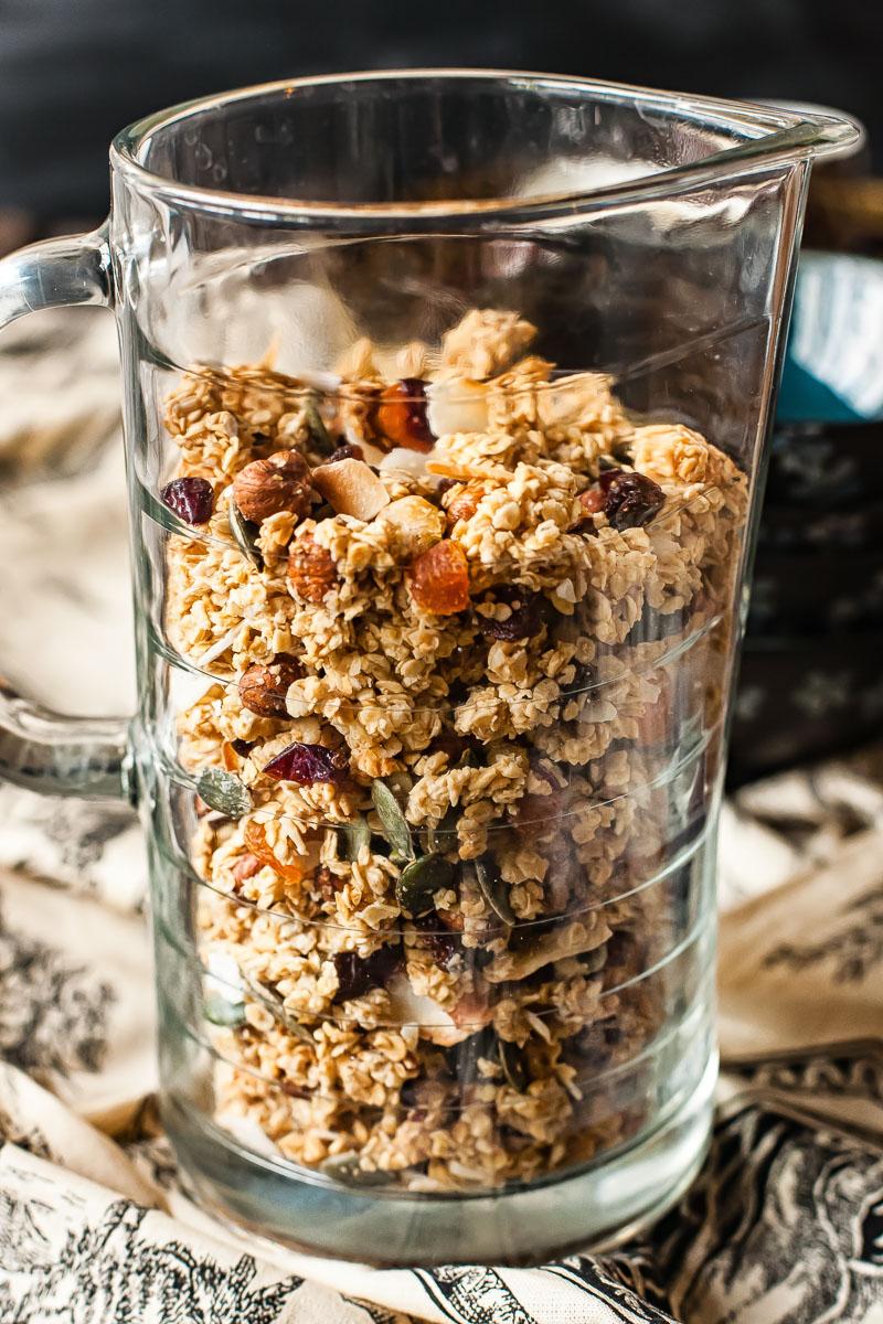 homemade granola in a glass jug