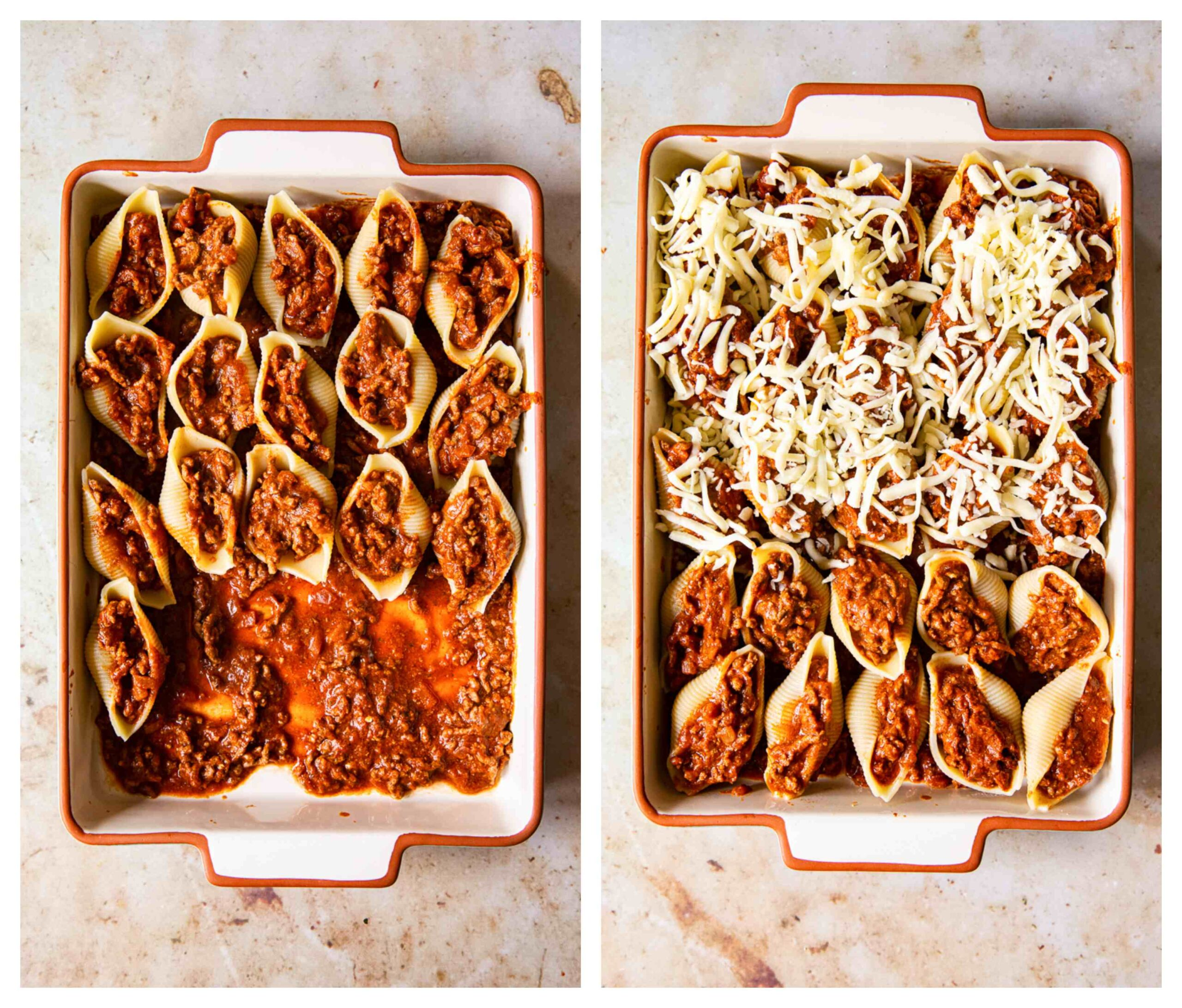 beef stuffed pasta shells process images