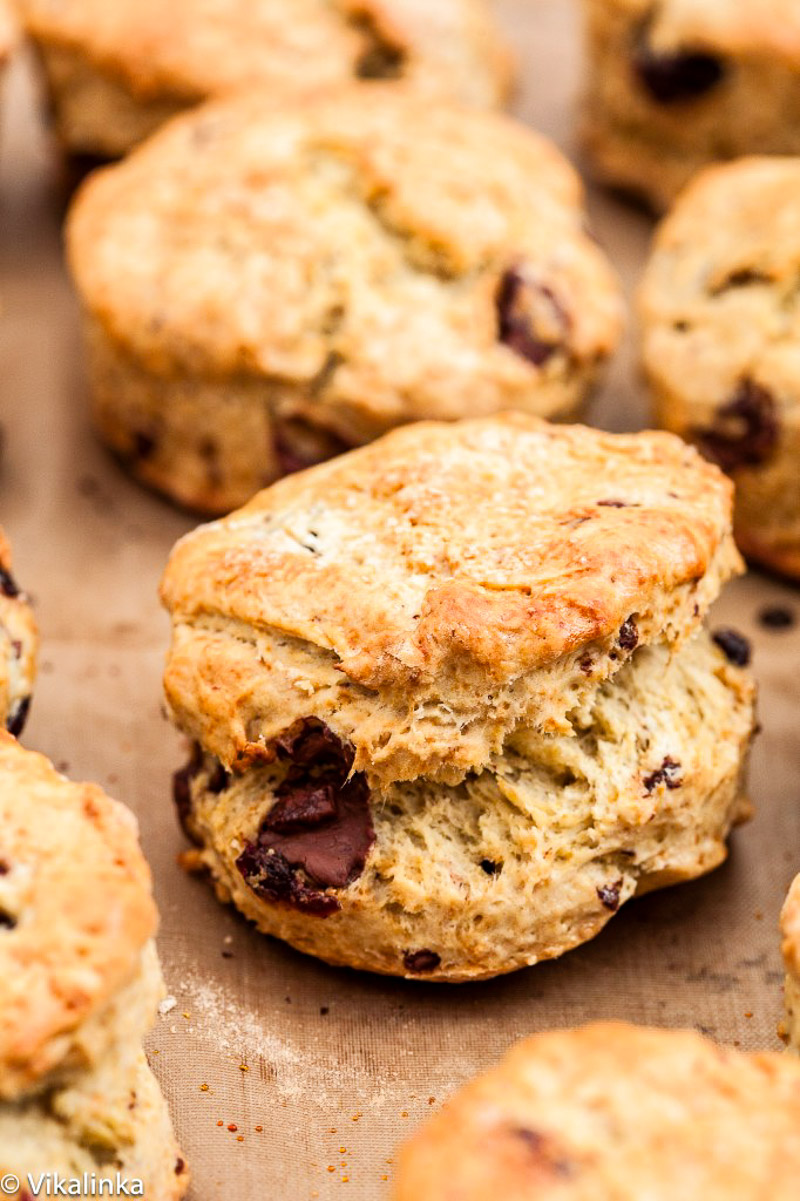 a scone with chocolate chunks