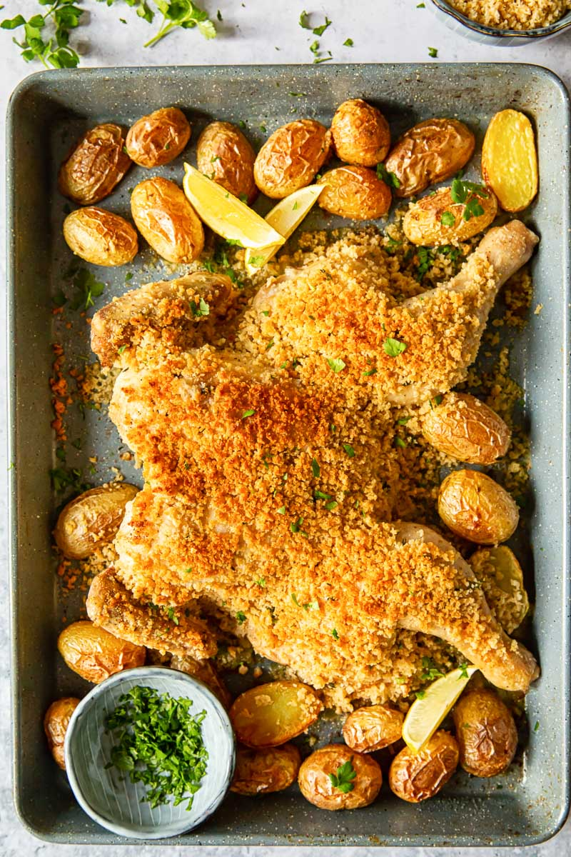 spatchcock chicken in breadcrumbs and baby potatoes on a sheet pan