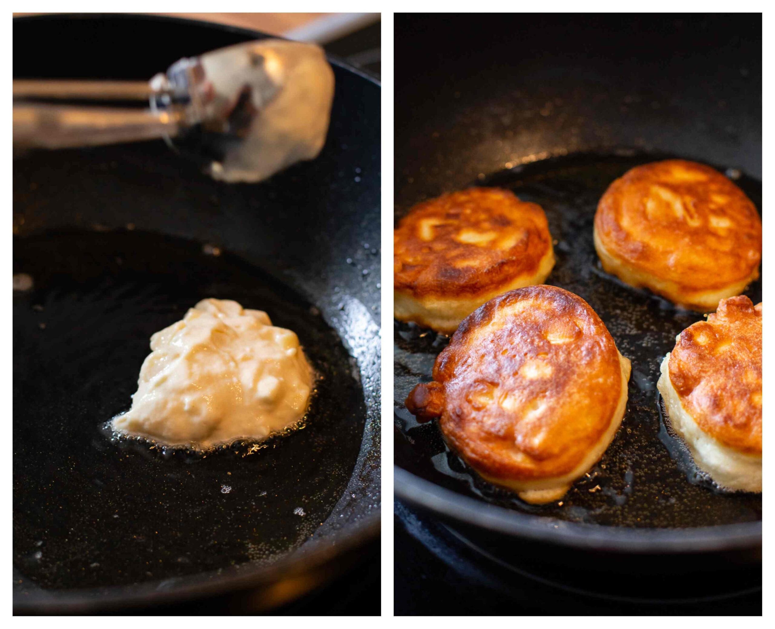 Fritters cooking process images