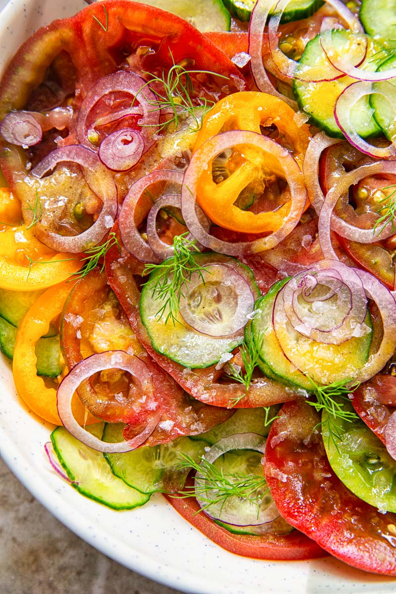closeup of cucumber tomato salad