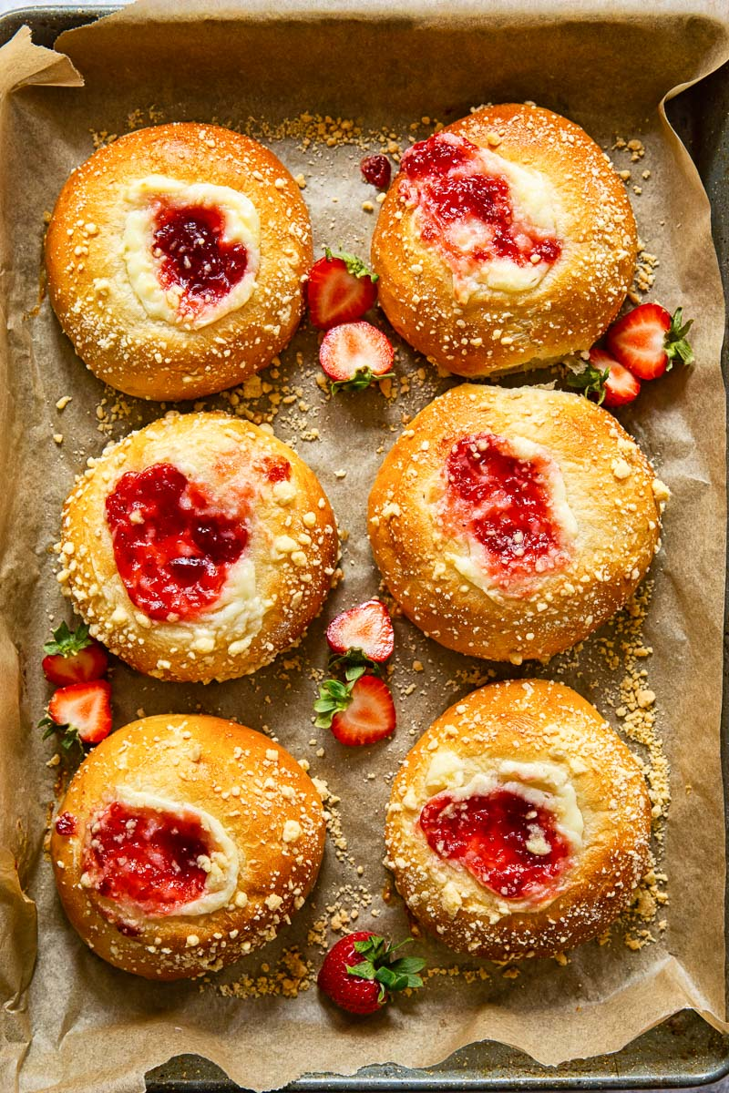 brioche buns filled with strawberry cheesecake filling