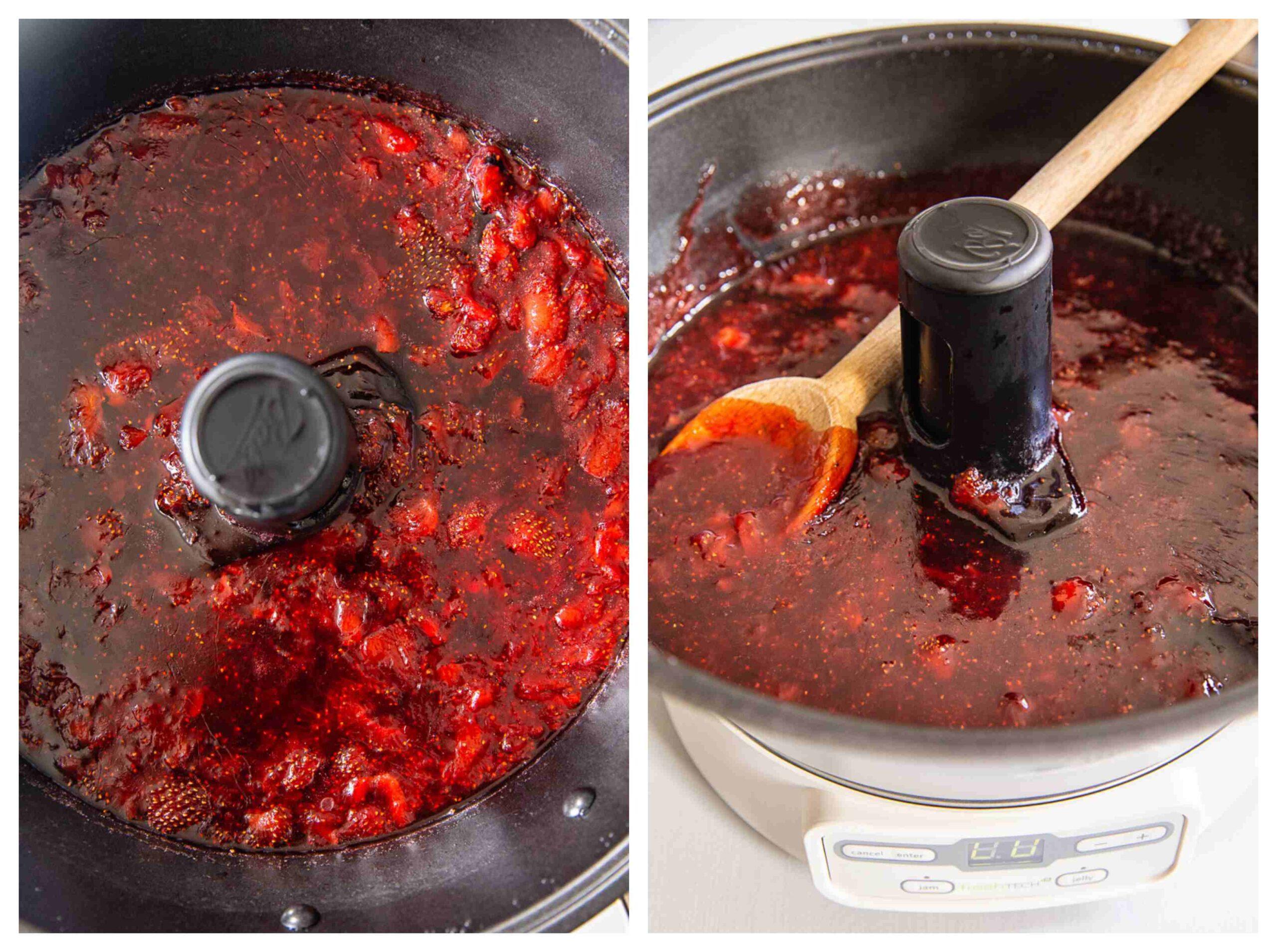 strawberry jam in jam maker
