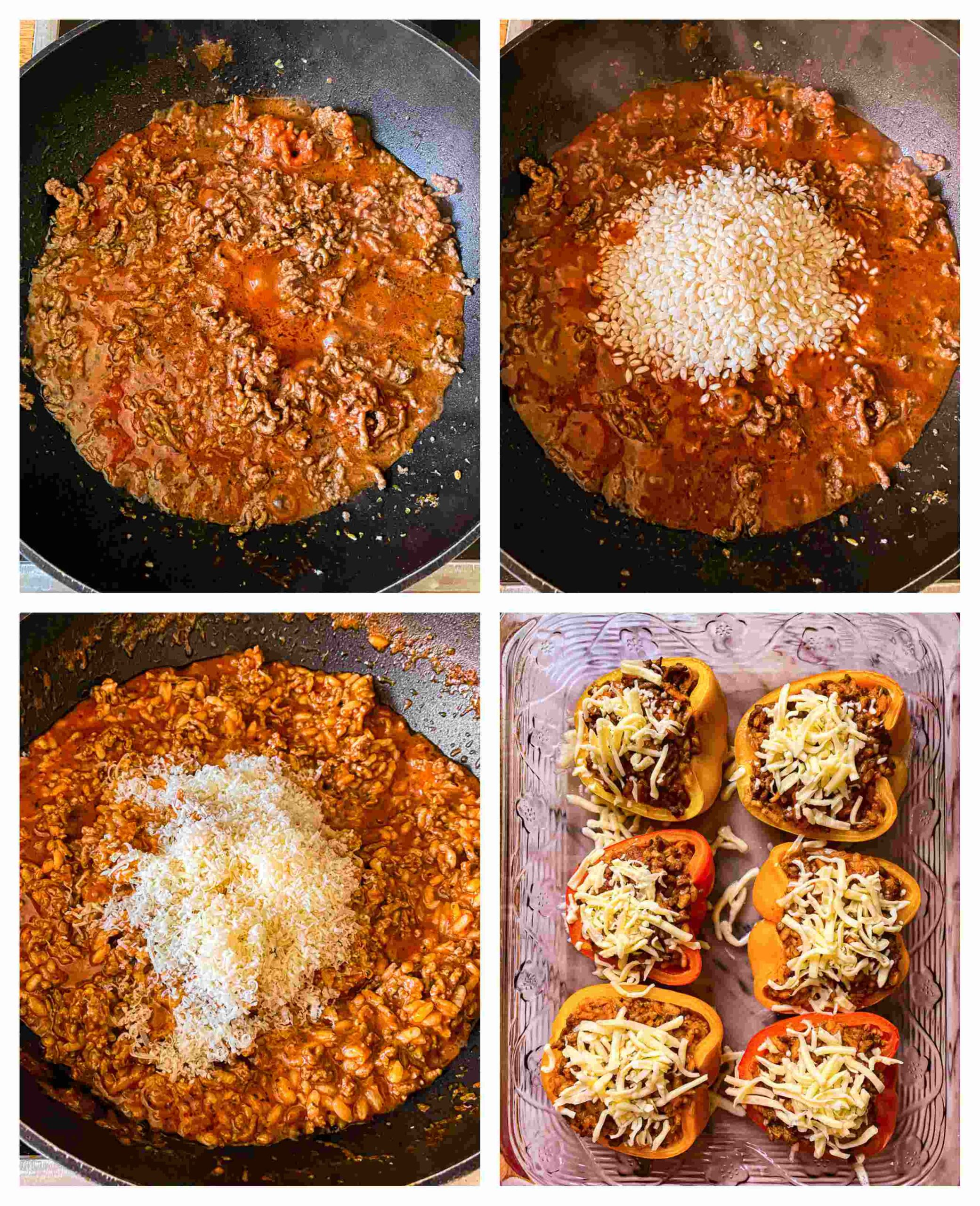 4 process images for stuffed peppers