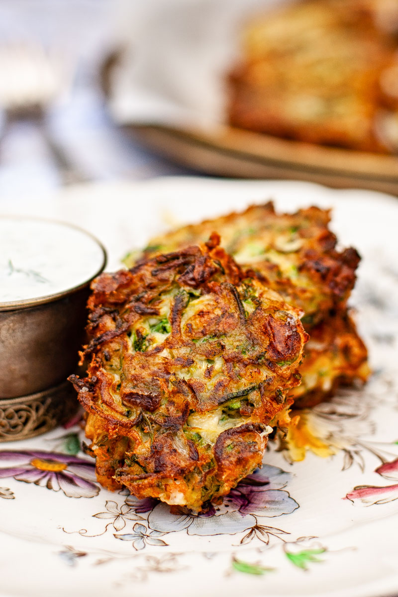 2 courgette fritters on a plate