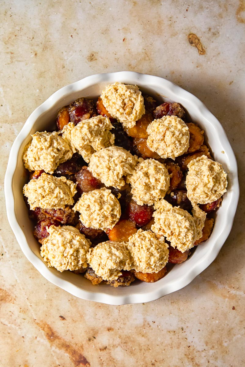 plum cobbler before baking