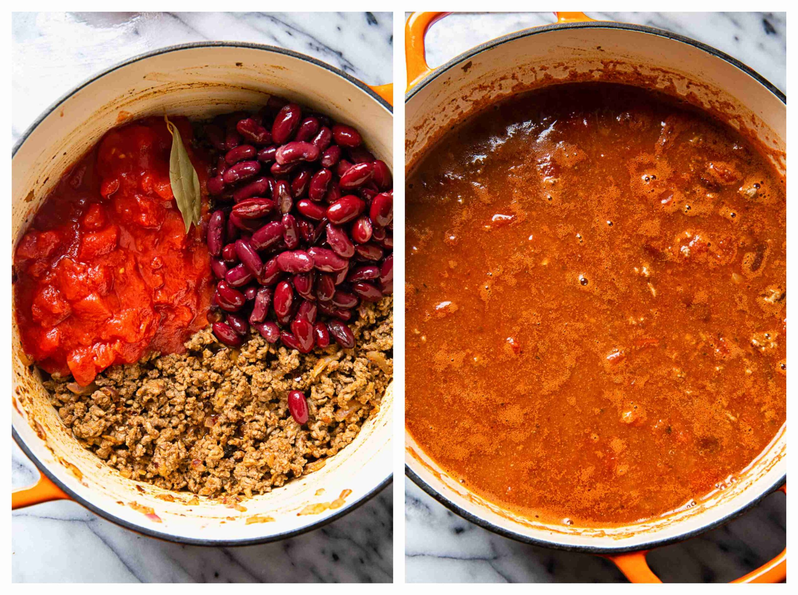 chili making process collage images