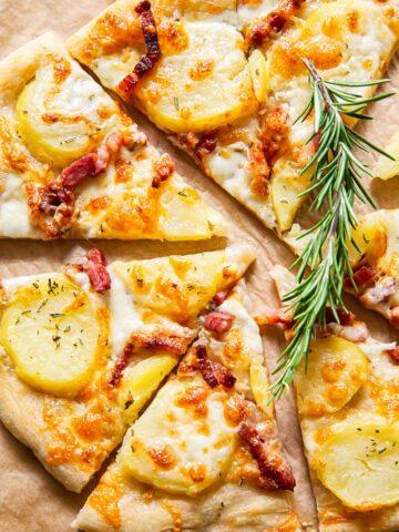 top down view of potato pizza