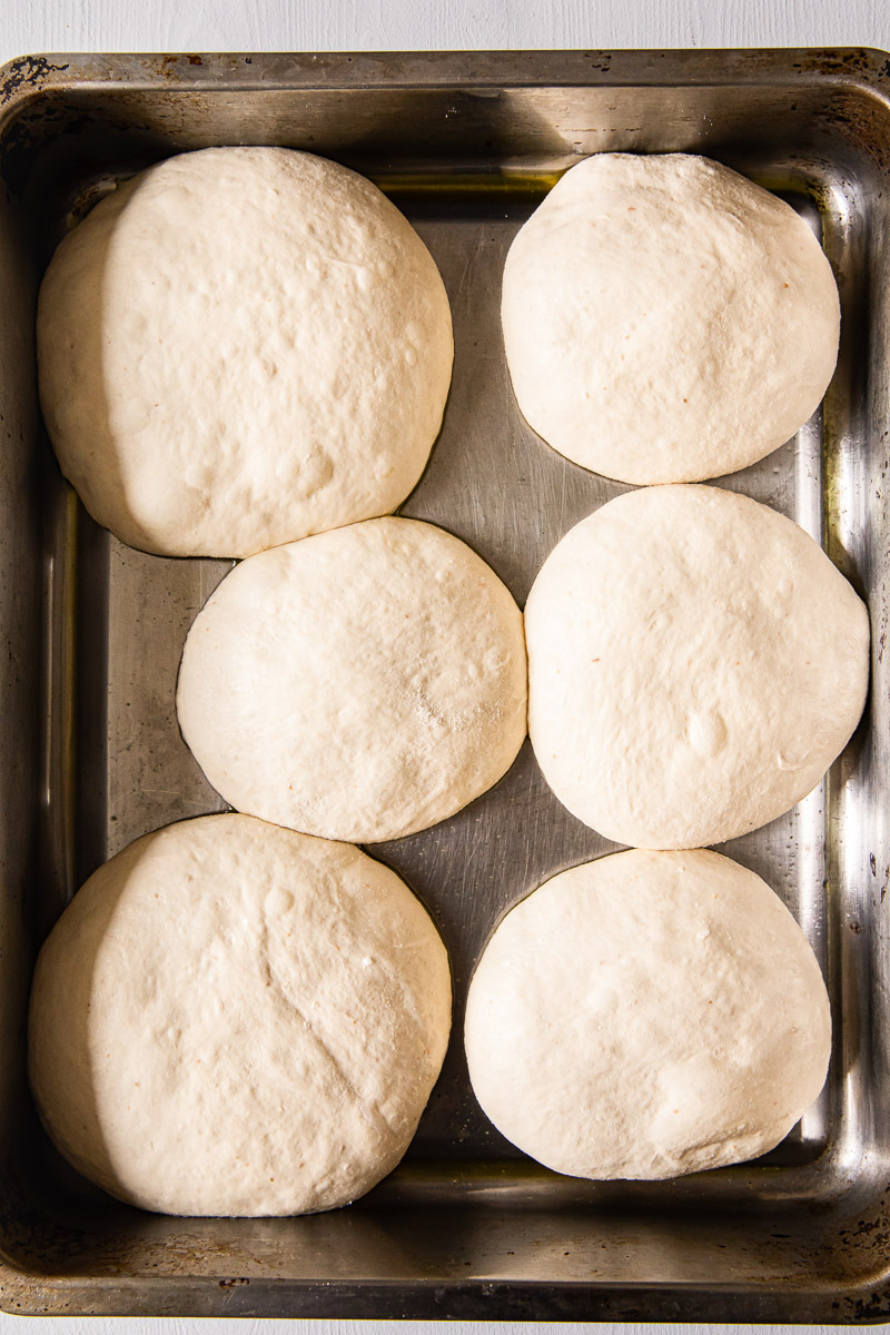 pizza dough pre-portioned for 6 pizzas inside roasting pan