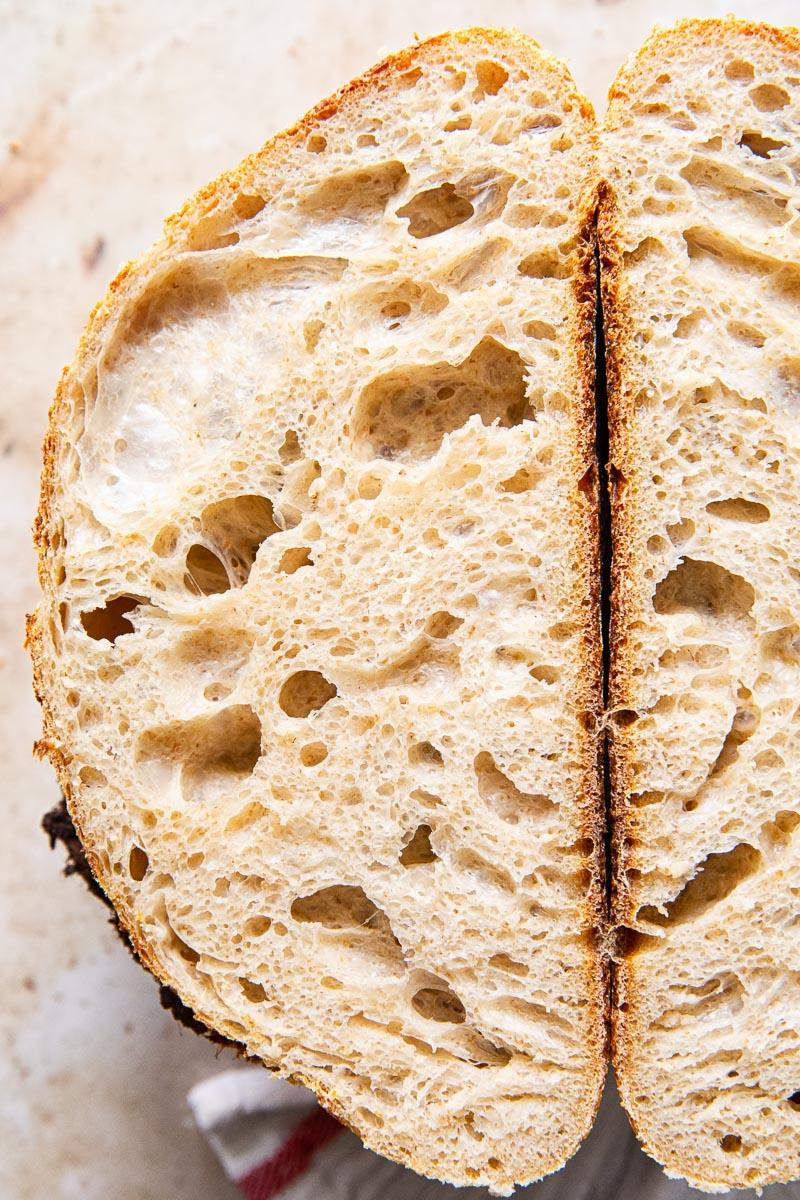 sourdough bread crumb closeup