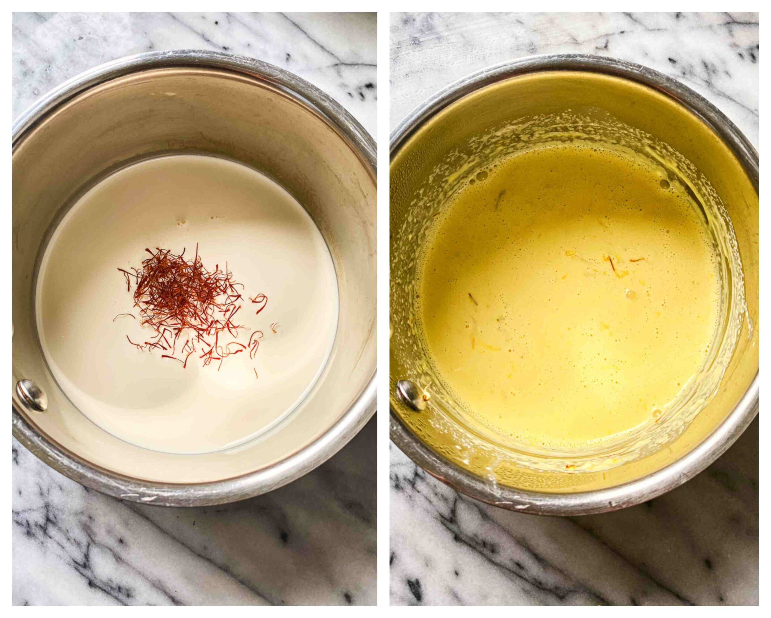 cream infused with saffron thread before and after images