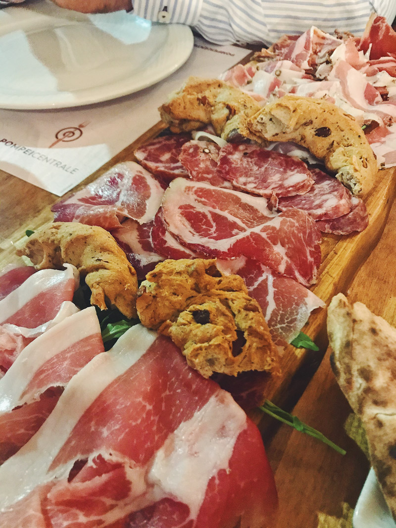 antipasti platter of cured meat and bread