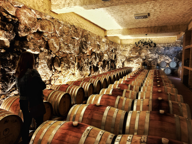 Wine storage cave in Campania, Italy