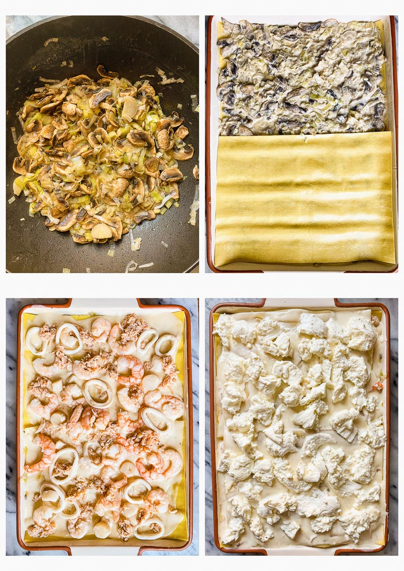 collage of 4 images that show the process of making seafood lasagna