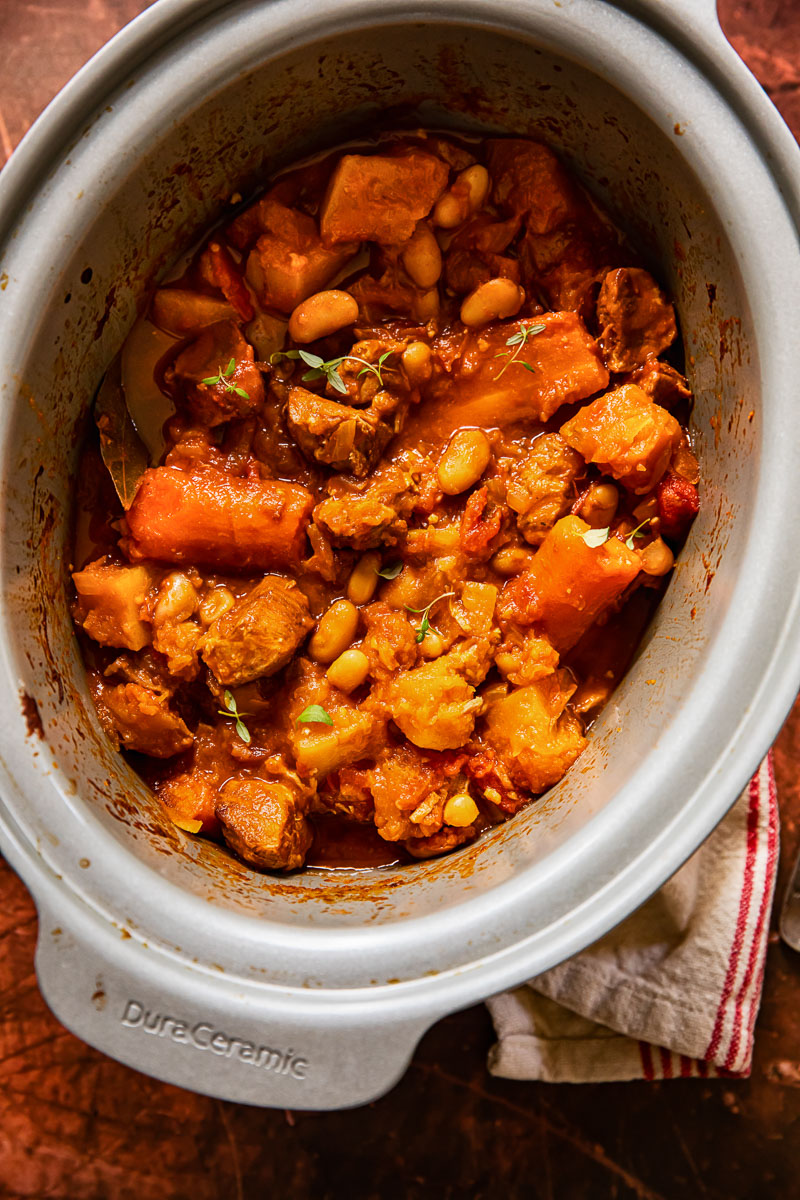 pork and vegetable stew in slow cooker