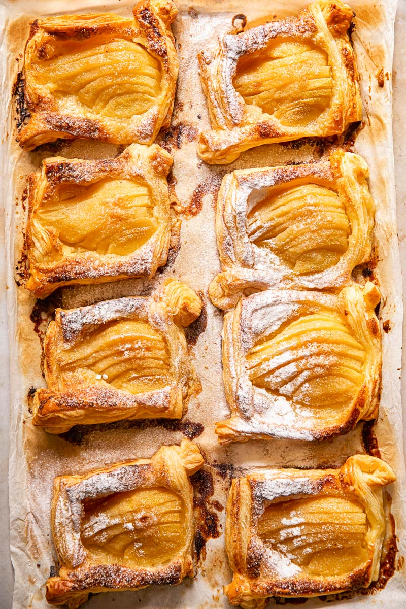 pear tarts dusted with powdered sugar