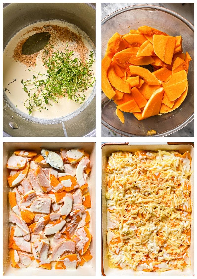 butternut squash casserole process images