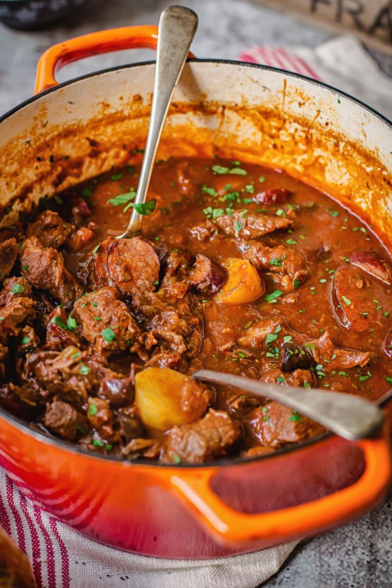beef stew in orange pot