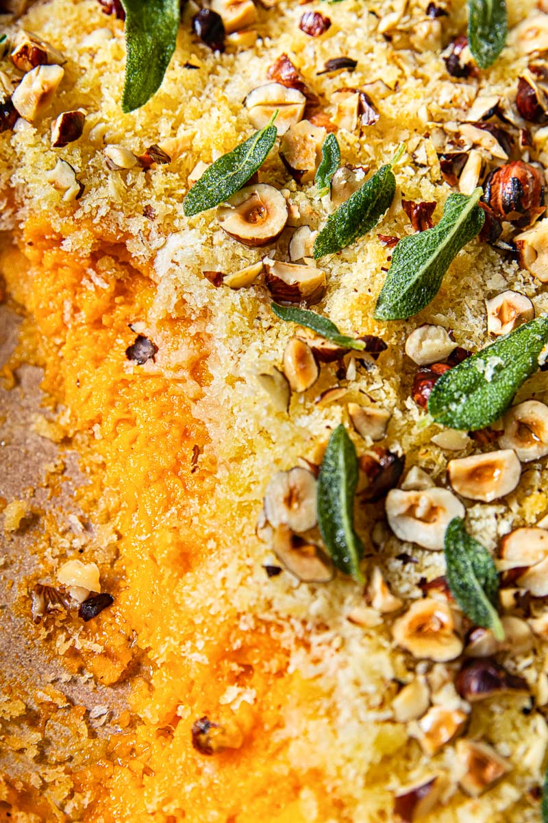 close up of sweet potato casserole