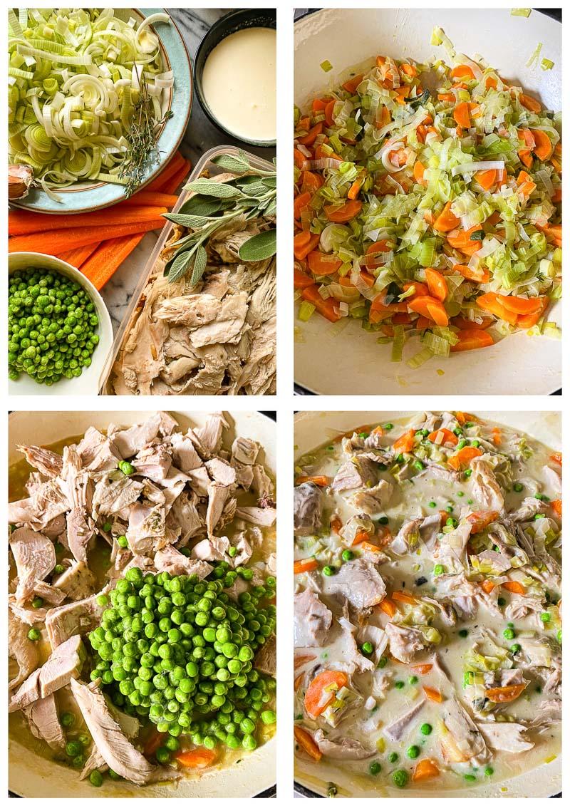 turkey pot pie process image collage