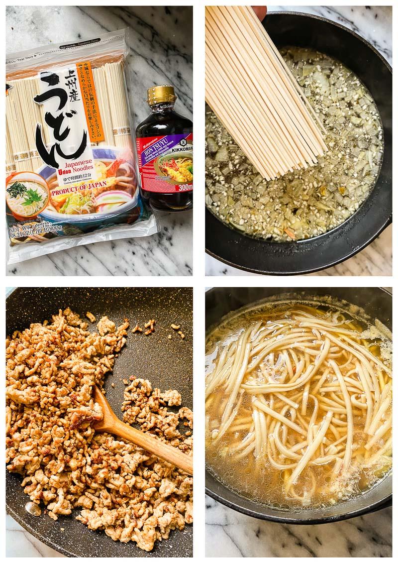 udon noodle soup process images