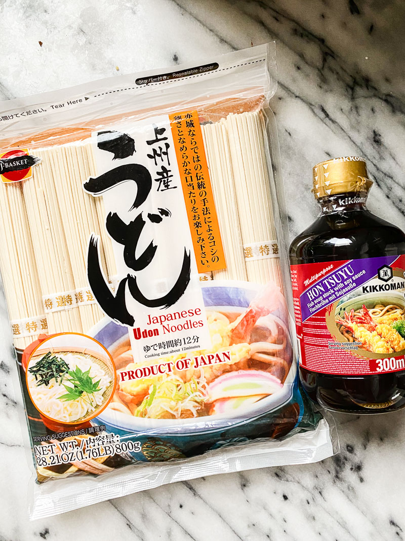 udon noodles package and tsuyu soup stock