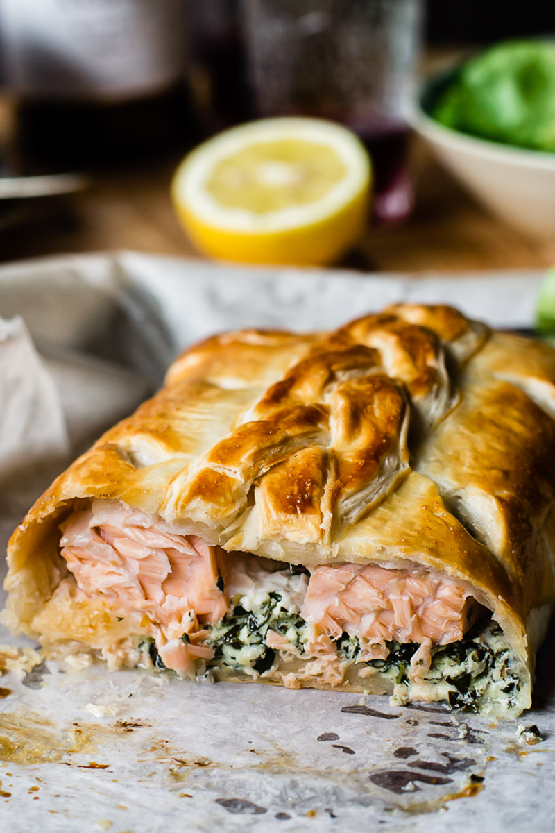 salmon en croute with salmon exposed