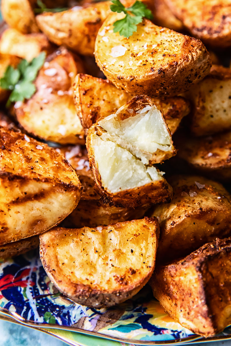 close up of air fried potatoes