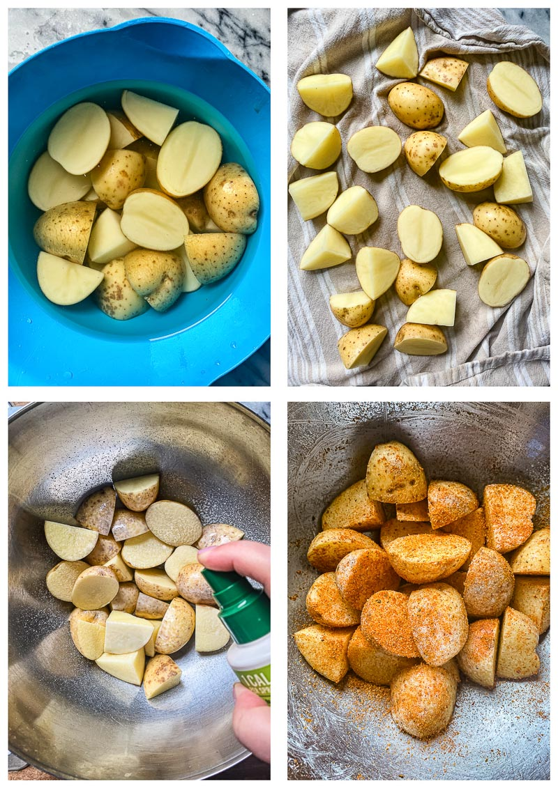 air fryer potatoes process images