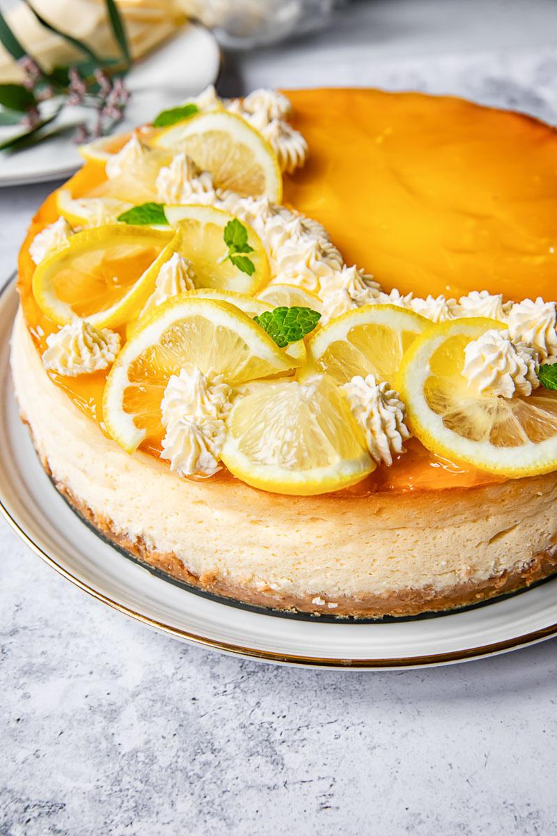 side view lemon curd cheesecake