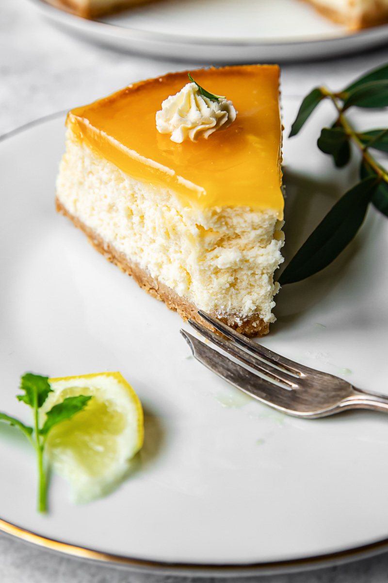 a slice of cheesecake on a plate