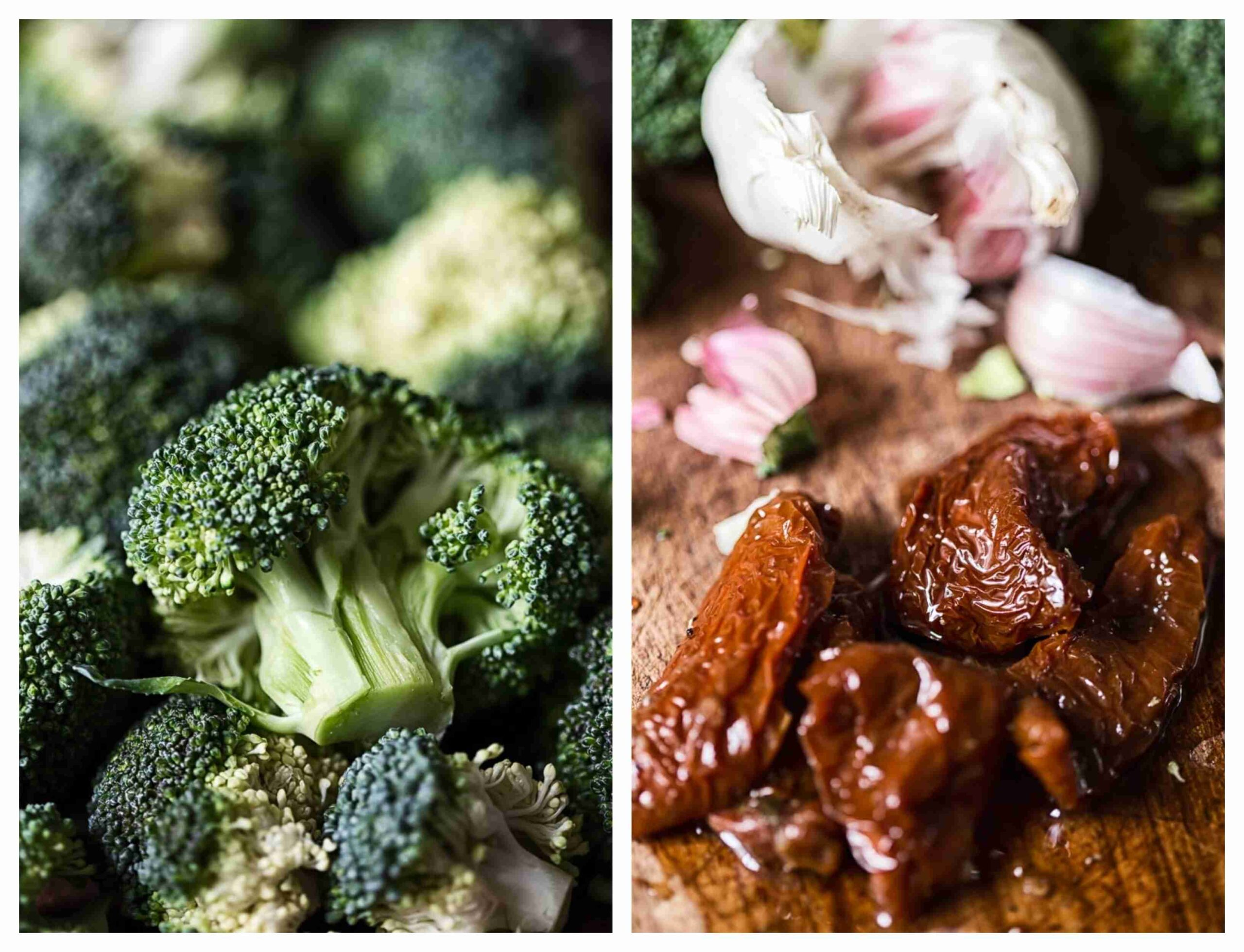 raw broccoli, sun-dried tomatoes and garlic cloves in the background close ups