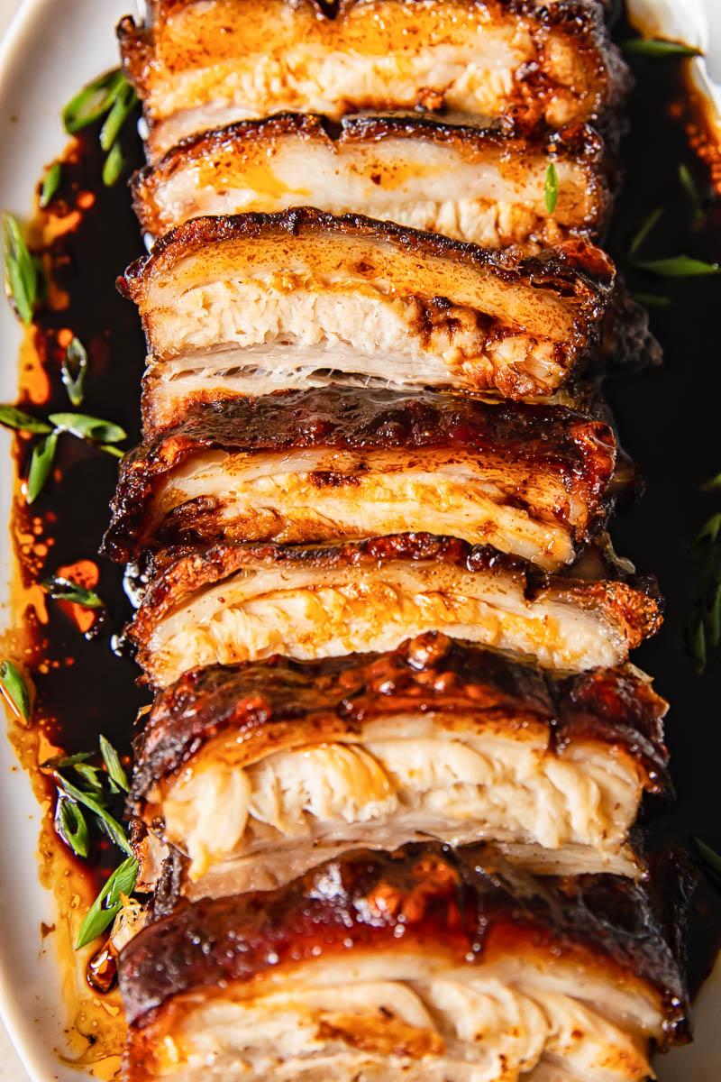 pork belly slices with glaze close up