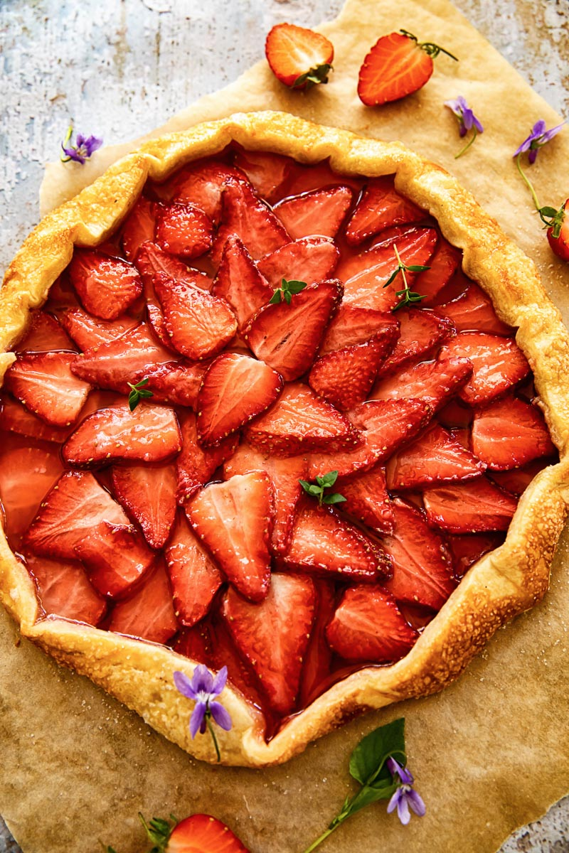 top down view of a rustic strawberry pie