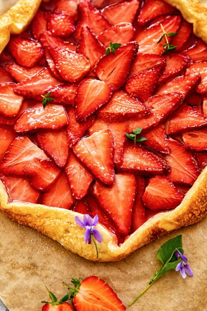 top down view of strawberry galette