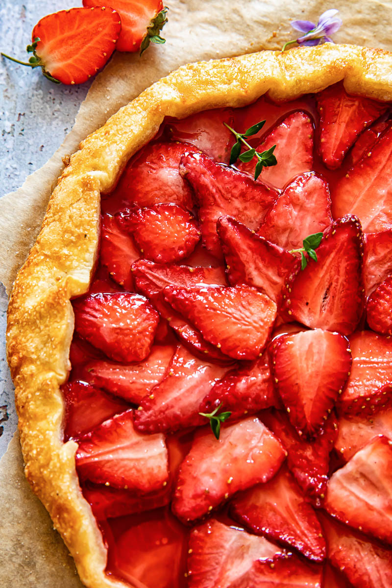 closeup of strawberry galette